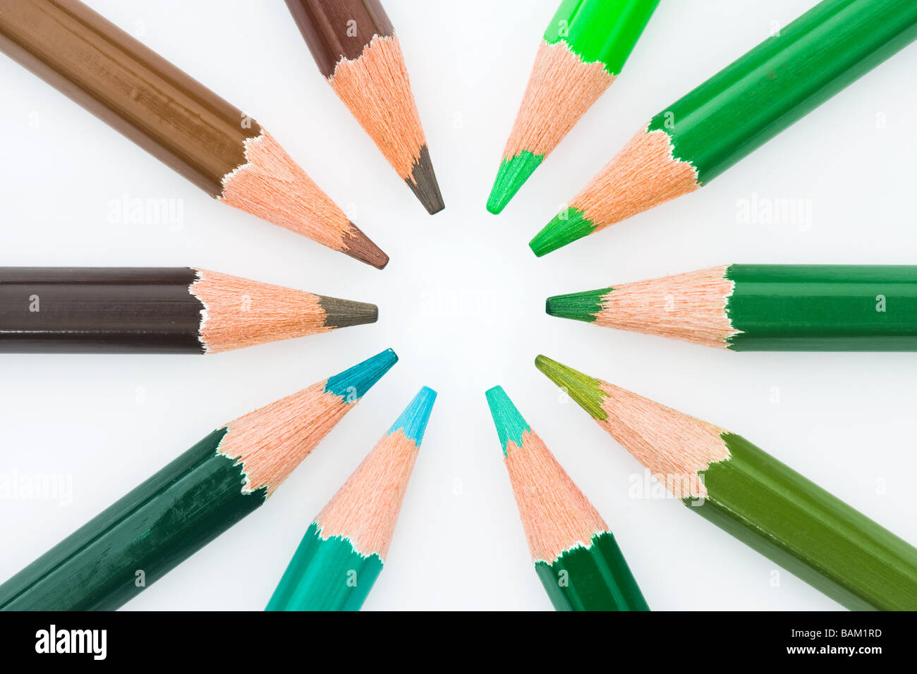 Colouring pencils in a circle - Stock Image