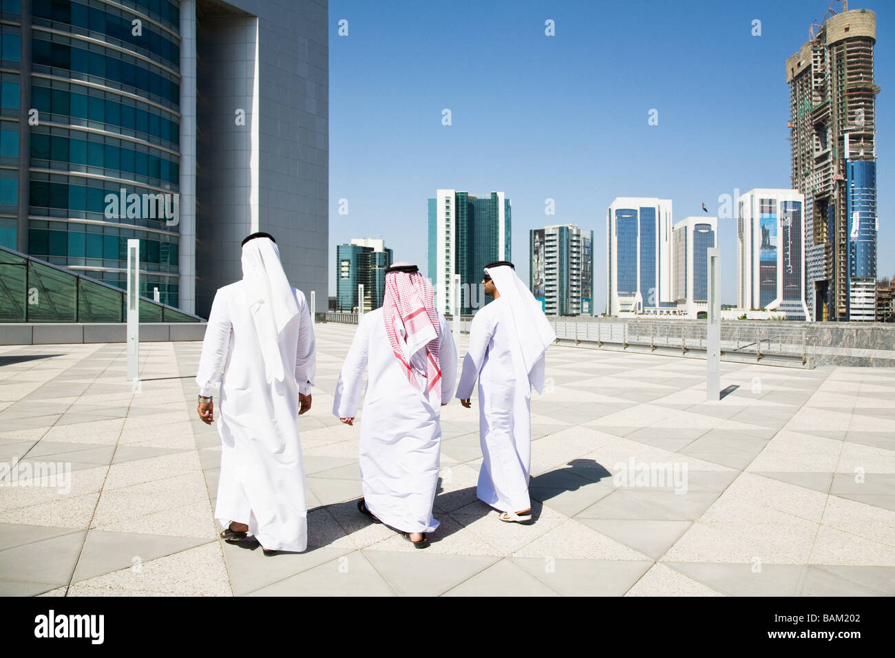 Rear view of middle eastern businessmen - Stock Image
