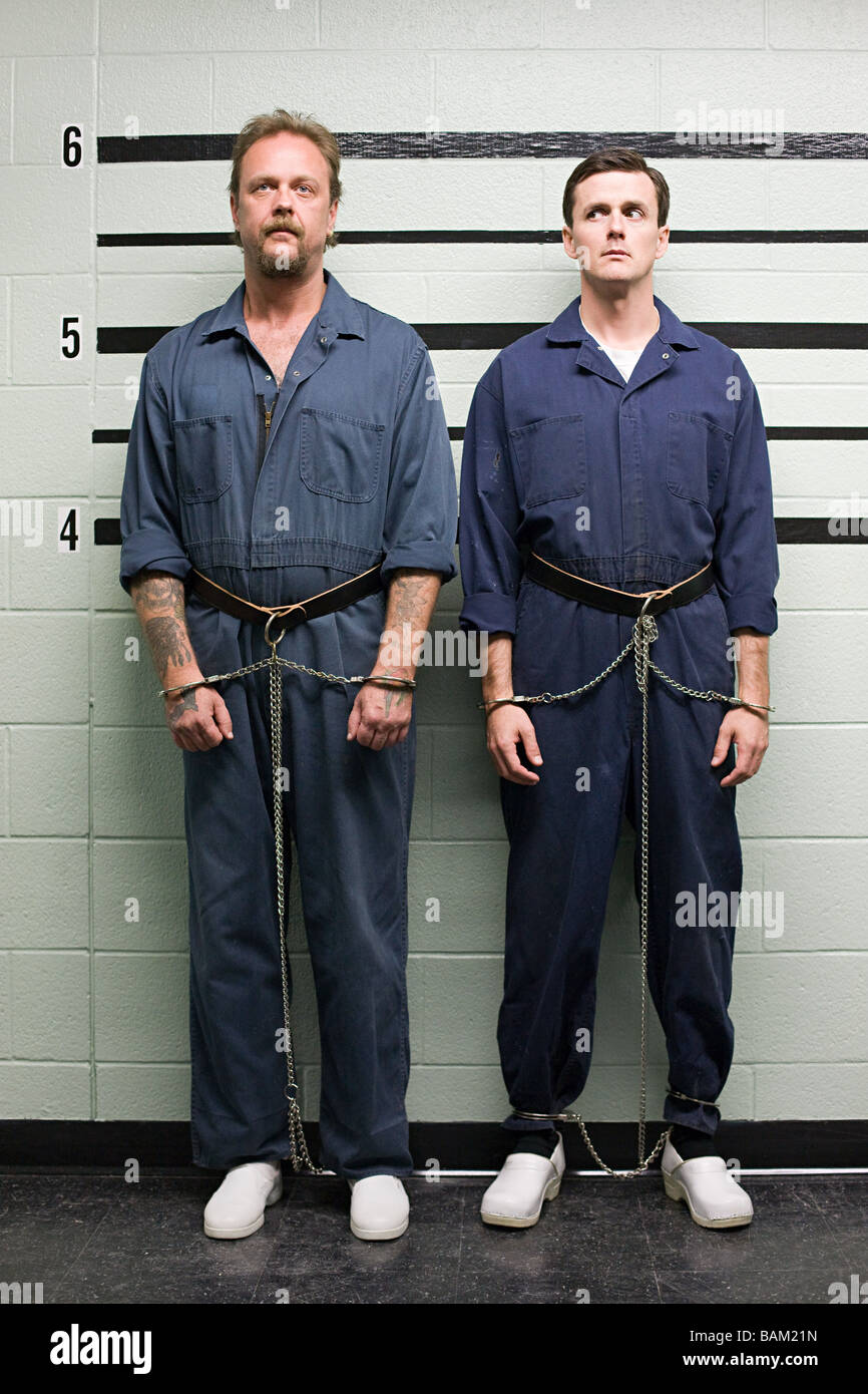 Prisoners on line up - Stock Image