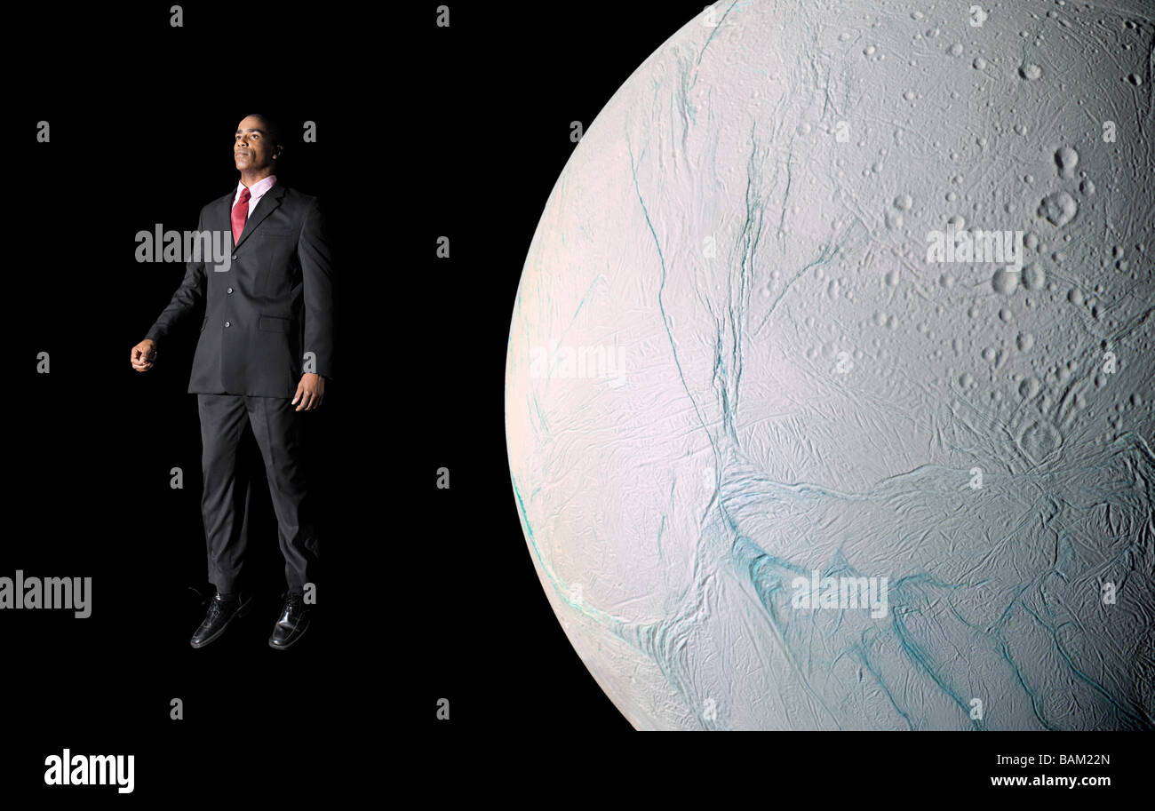 Businessman in outer space - Stock Image