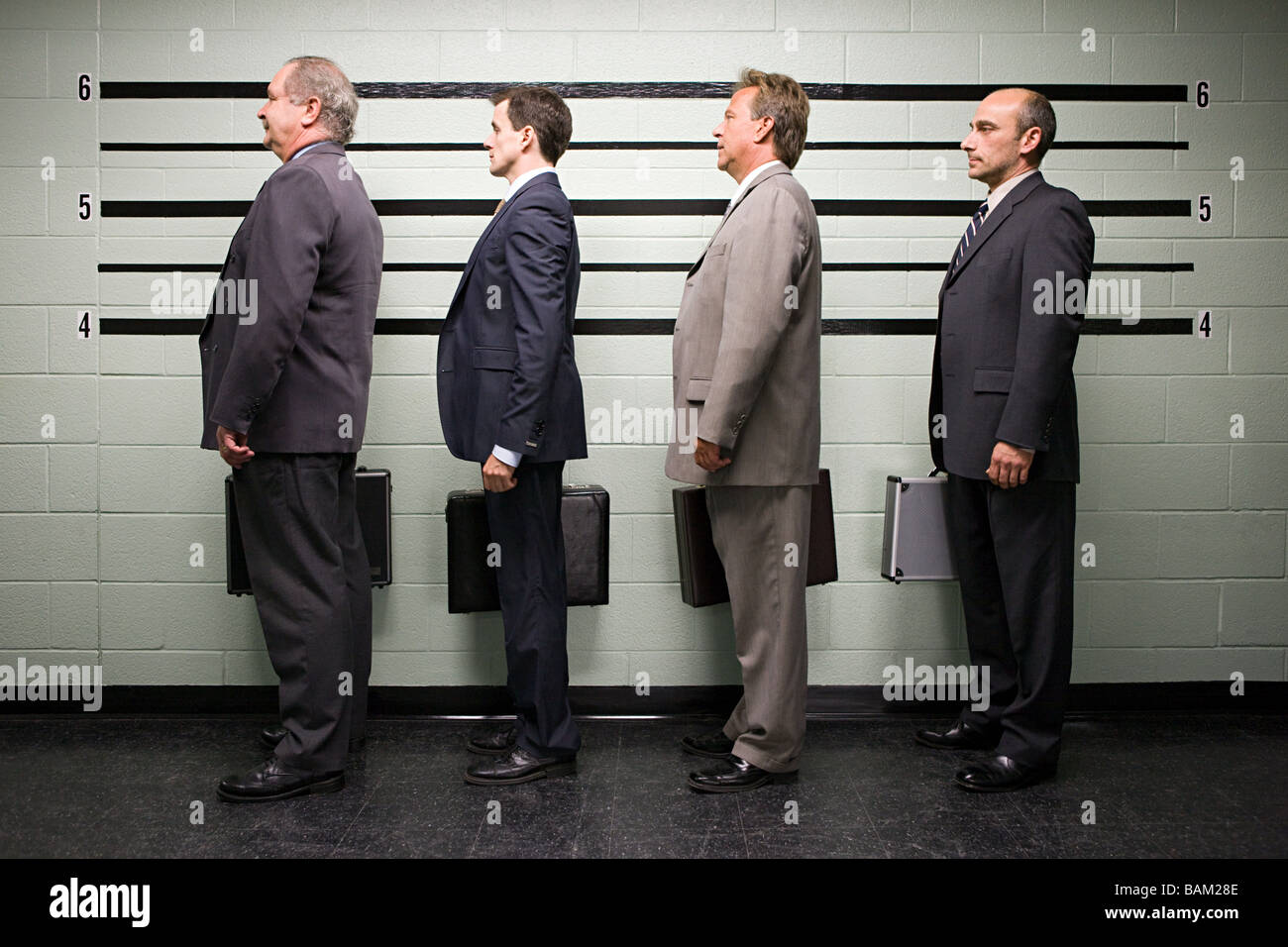 Man Wearing Underwear In A Police Lineup Stock Photo