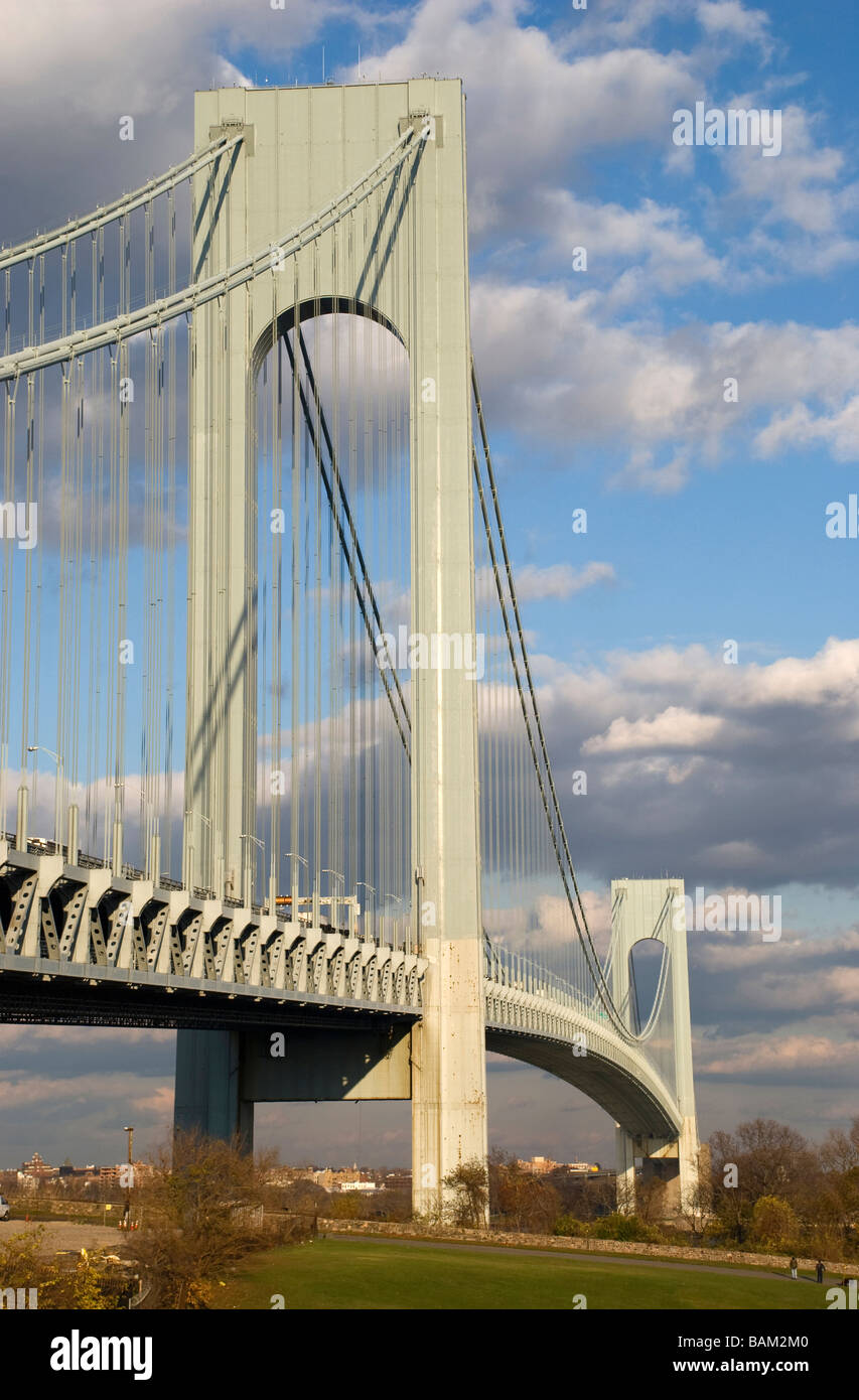 Verrazano-Narrows suspension bridge Staten Island New York City cable suspension Highway 278 - Stock Image