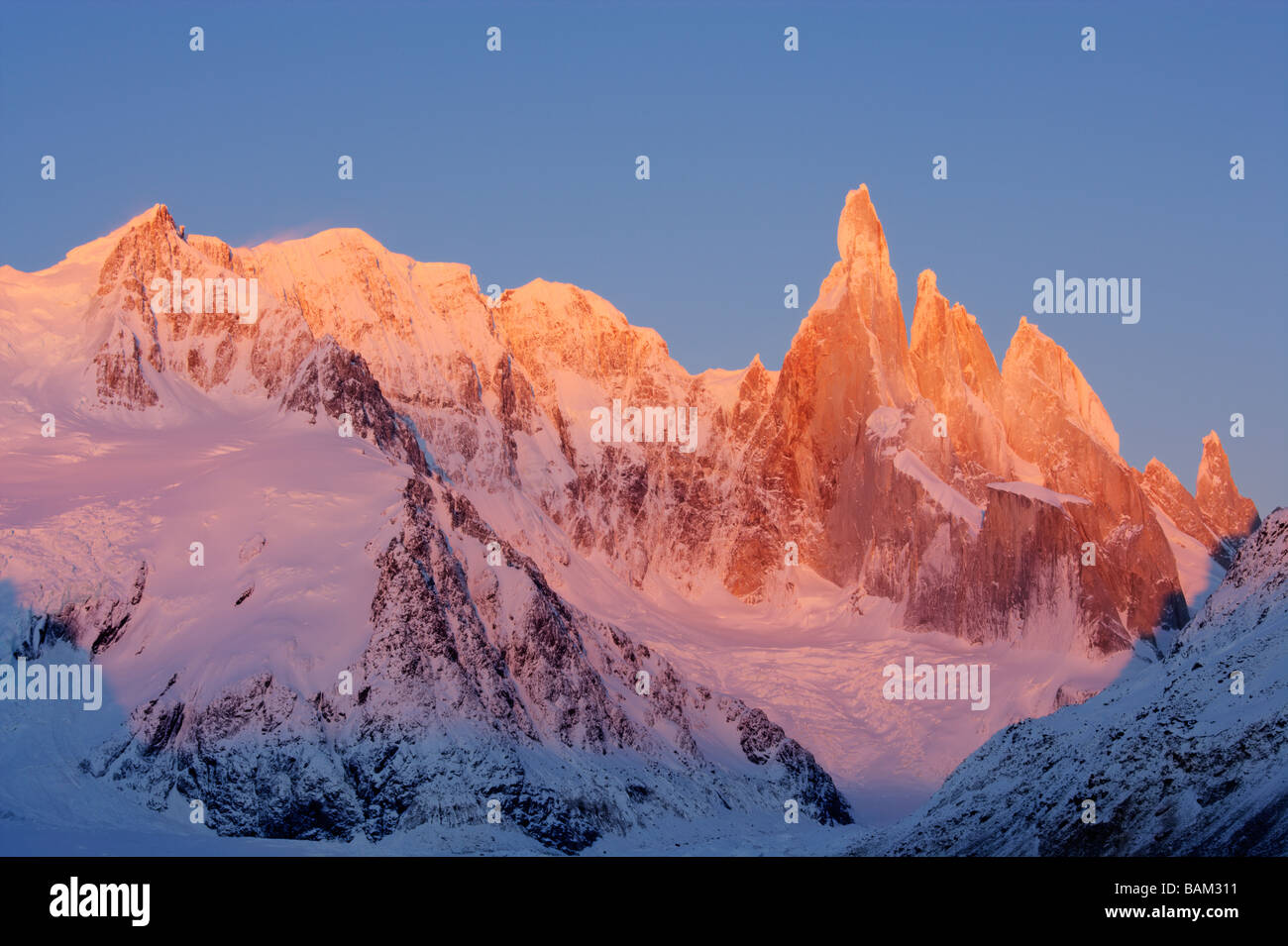 Sunrise over the Cerro Torre mountain massif in the Andes Mountain range Argentina - Stock Image