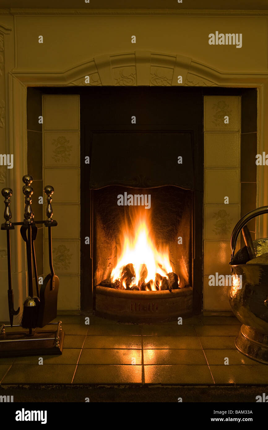 A fireplace - Stock Image