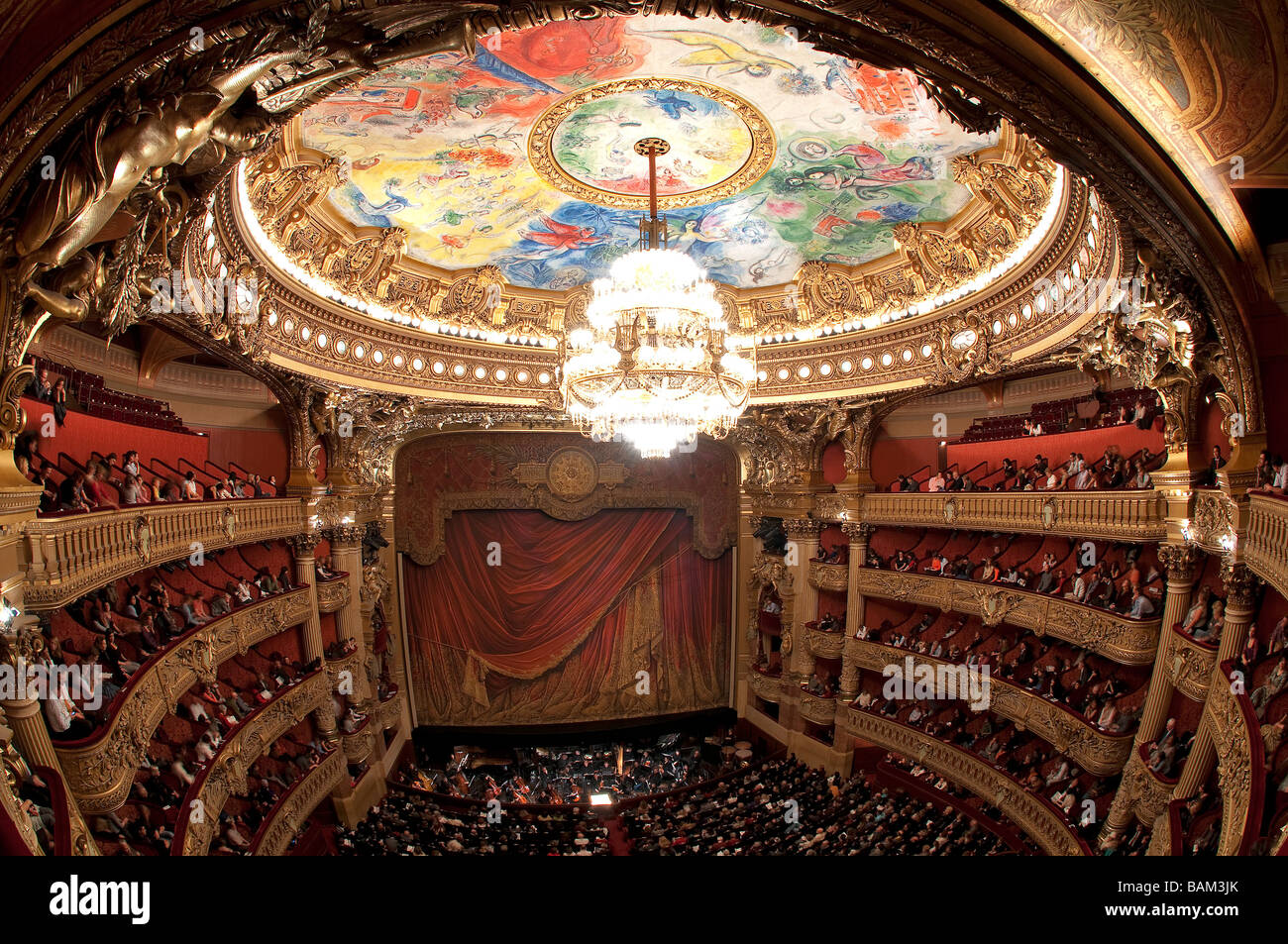 France, Paris, Garnier opera house, the auditorium and the ceiling painted by Chagall - Stock Image