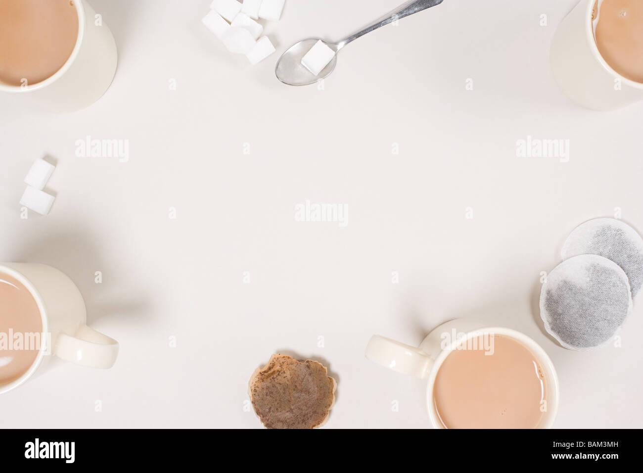 Tea and sugar lumps - Stock Image