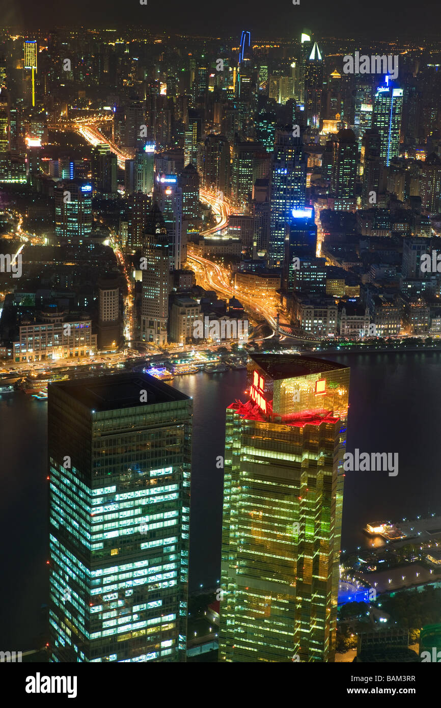 Shanghai and huangpu river at night Stock Photo