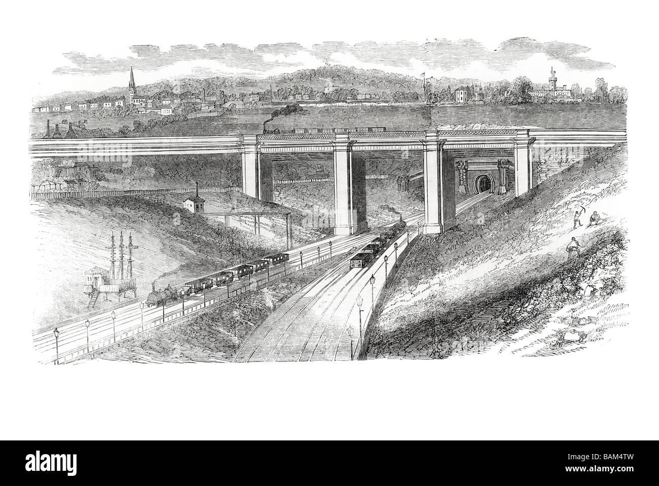 viaduct across the great northern railway bridge British company London York Act arches 1851 steam train Stock Photo