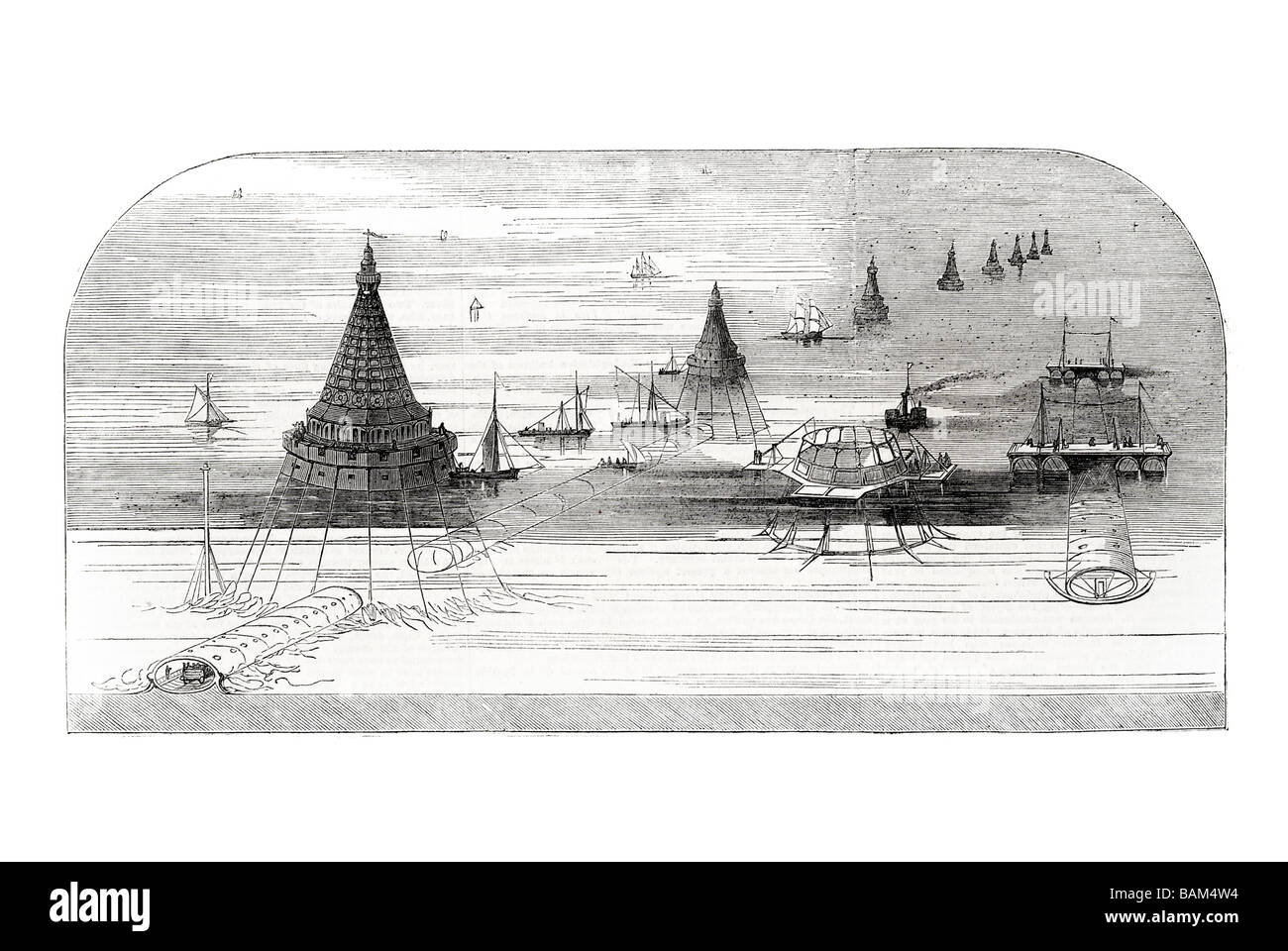 submarine railway between france and england projected by hector horeau French mining engineer 1851 channel tunnel Stock Photo