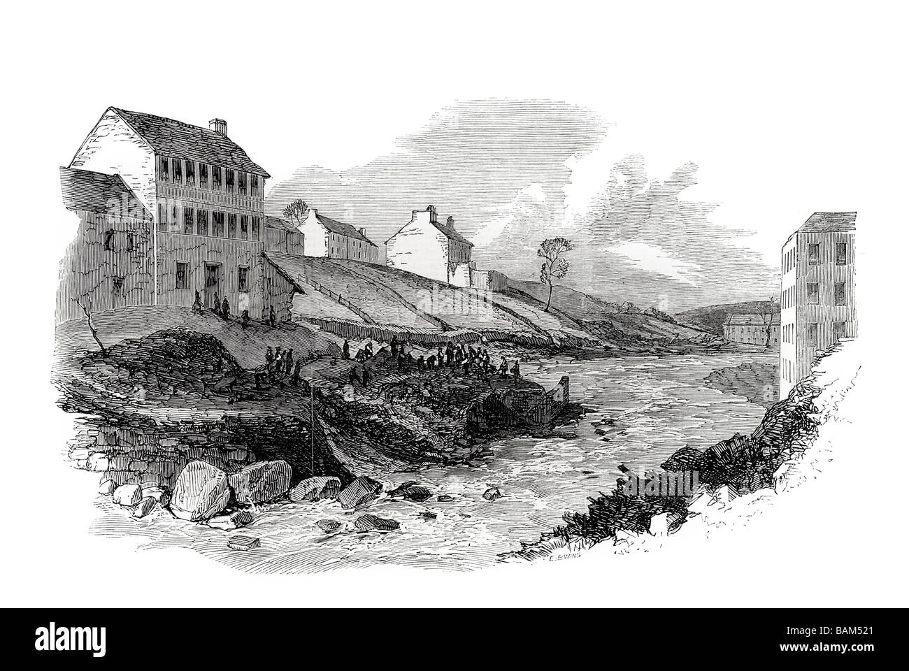 water street and hinchliffe's mill terrible inundation and loss of life at holmfirth 1852 - Stock Image