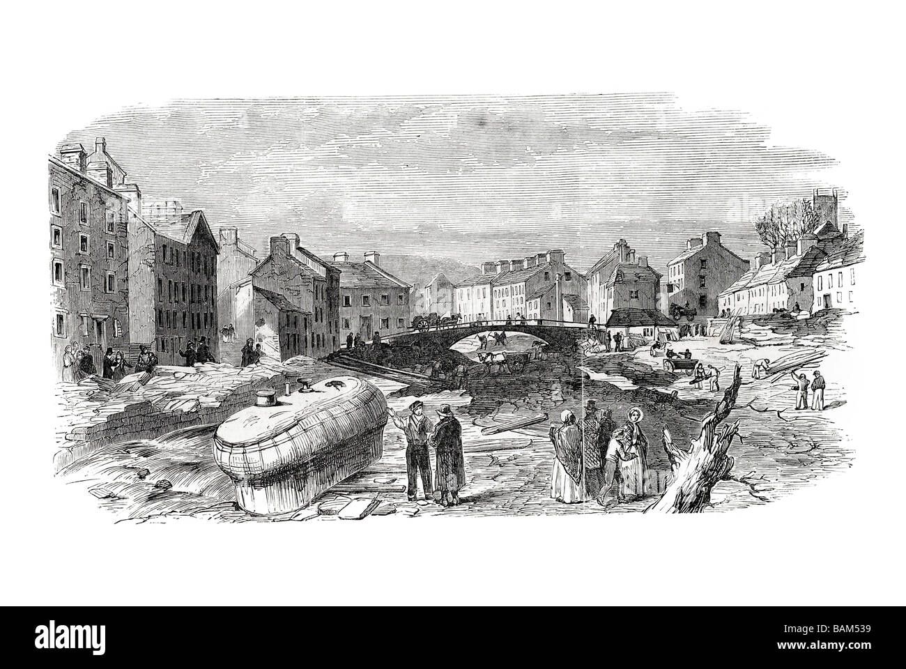 village of holmfirth from victoria bridge Flood 1852 severe flooding Holme Valley West Yorkshire England - Stock Image