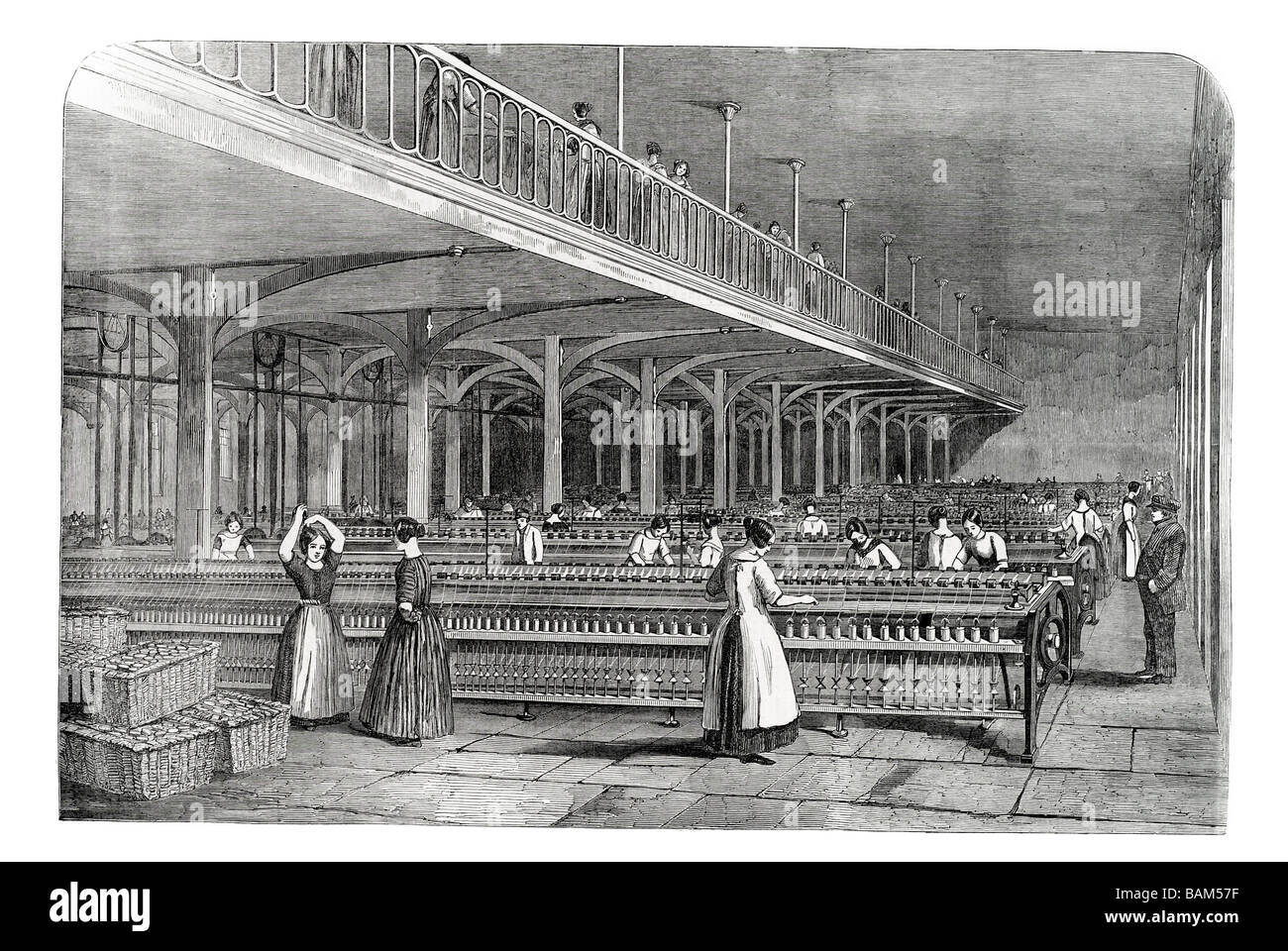 dean mills the doubling room with workers at time of Prince Albert's Visit to Barrow Bridge Halliwell, Deane, - Stock Image