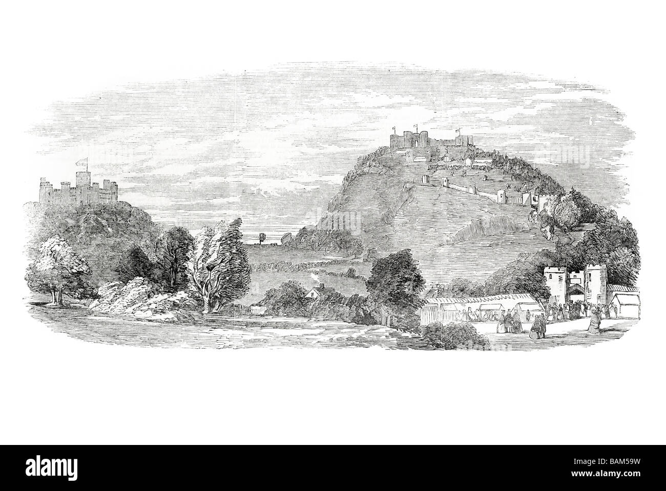 beeston castle festivities Cheshire England stronghold tower fortified defensive 1851 - Stock Image