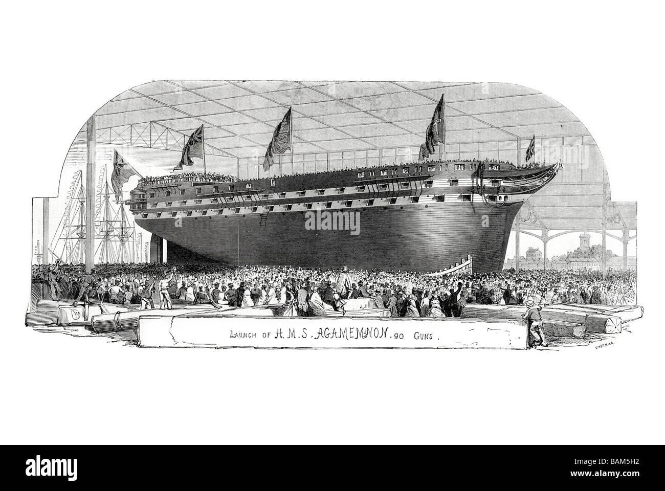 launch of h m s agamemnon 91 guns 1852 Royal Navy battleship ancillary steam power - Stock Image