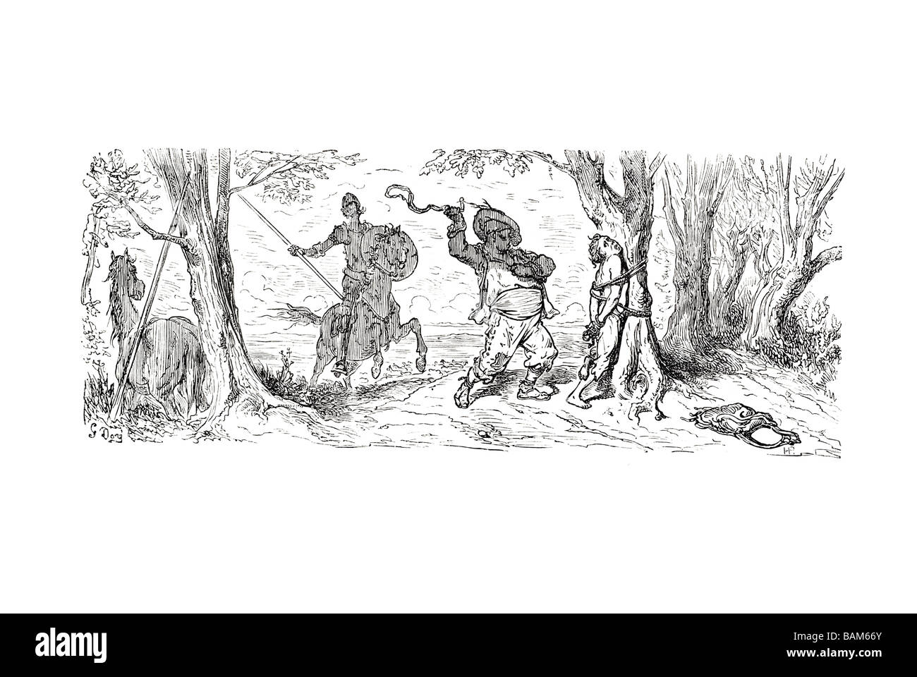 chapter IV what befell the knight after he had left the inn 4 four Don quixote spanish novel Alonso Quixano Cervantes Stock Photo