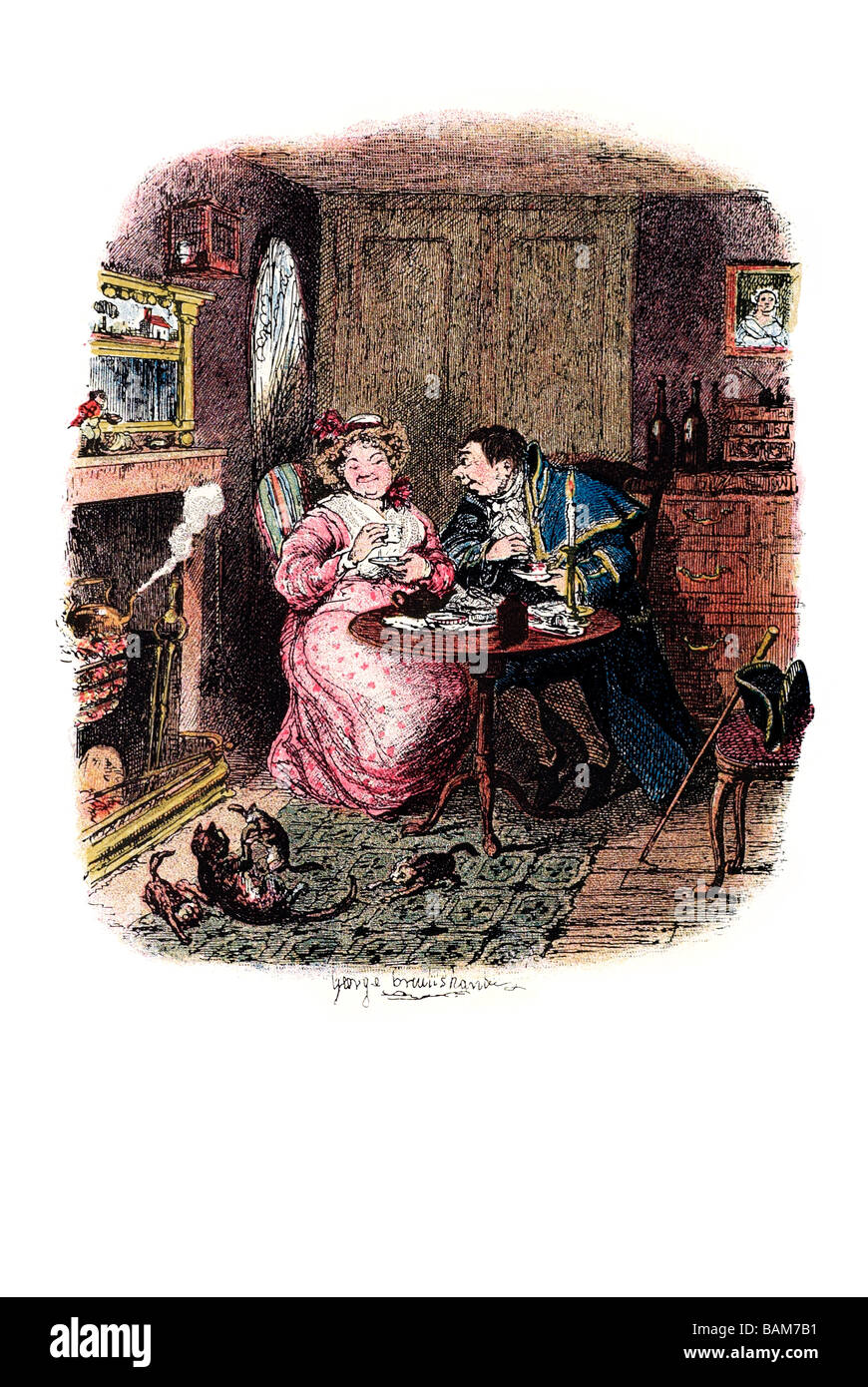 mr bumble and mrs corney taking tea the last chance Oliver Twist (1838) is Charles Dickens' second novel. The - Stock Image