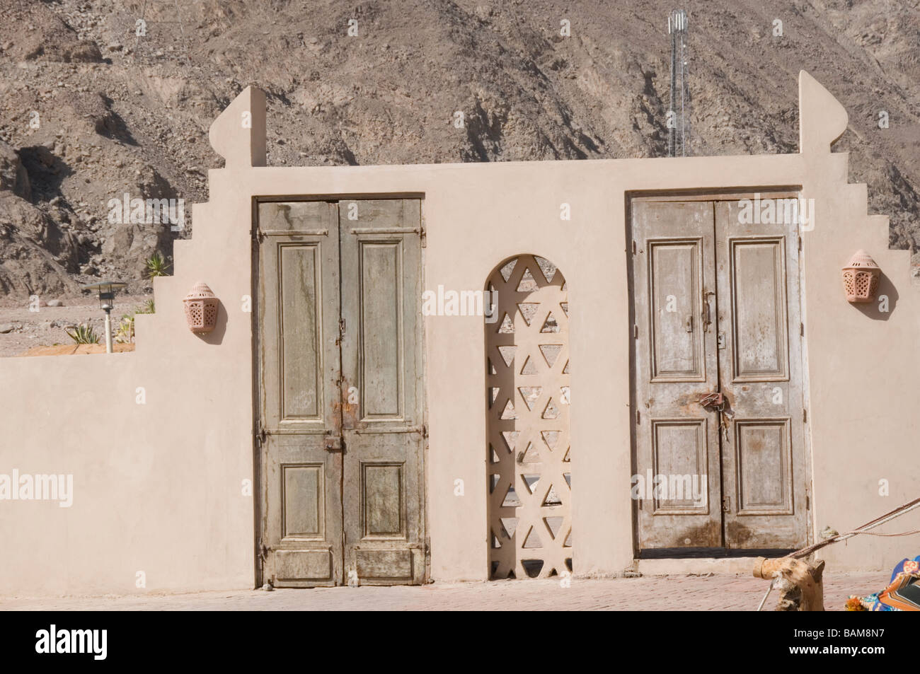 weathered wooden wood door doors faded fade sun backed texture textured bleached - Stock Image