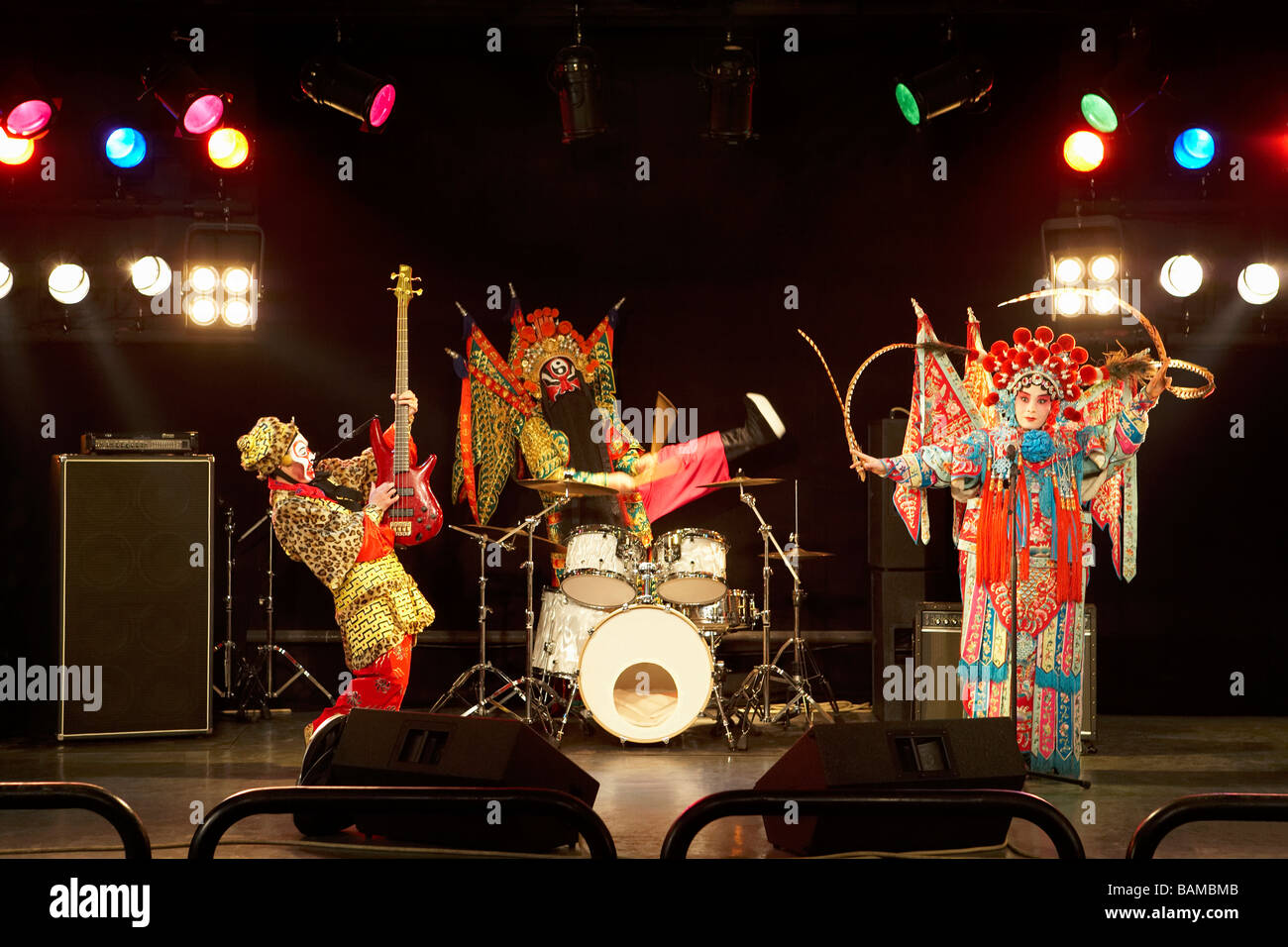 Band In Ceremonial Costume Playing Musical Instruments - Stock Image