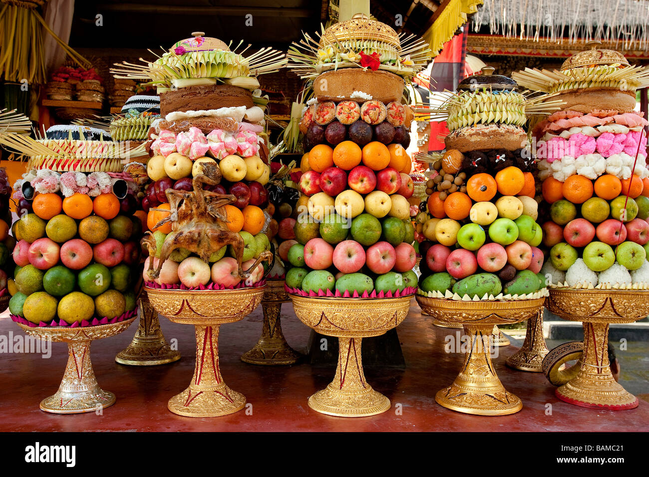 Indonesia Bali Fruits Offerings In The Temple Stock Photo