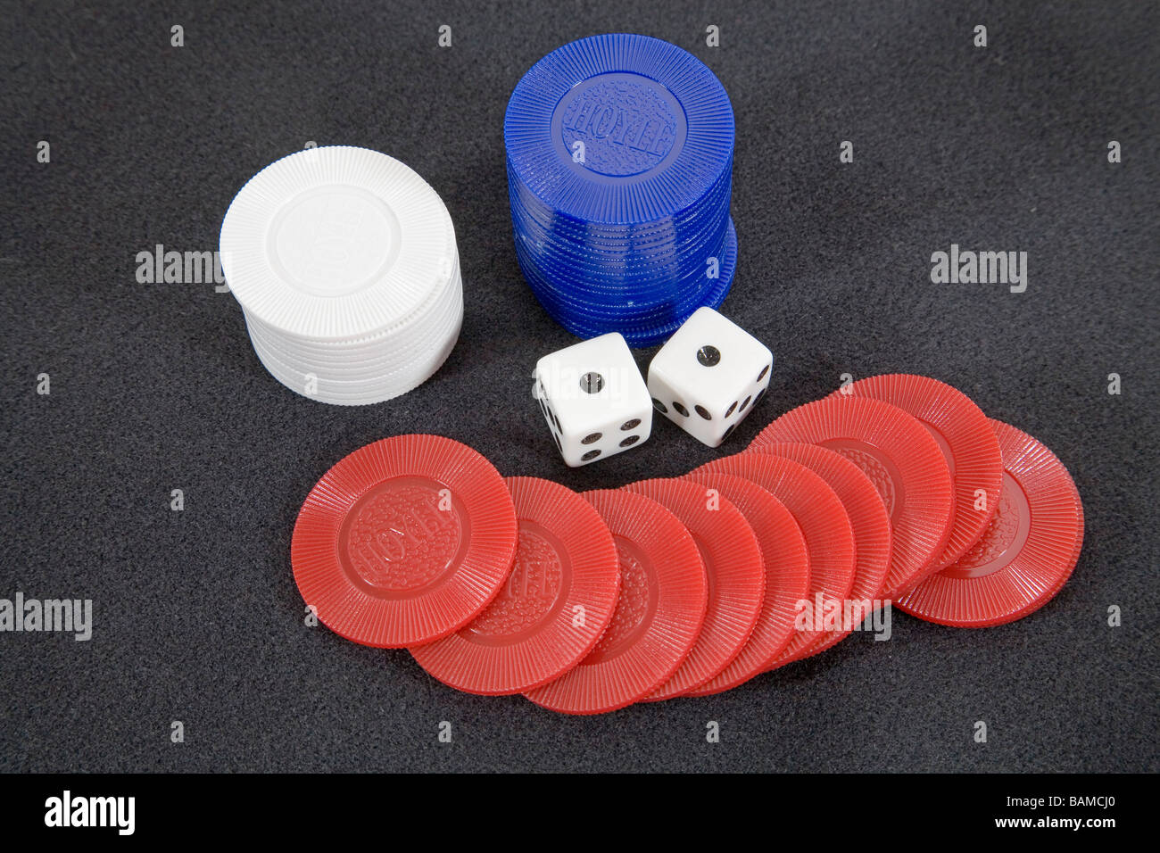 A loser Dice showing snake eyes or a double one for a total of two spots - Stock Image