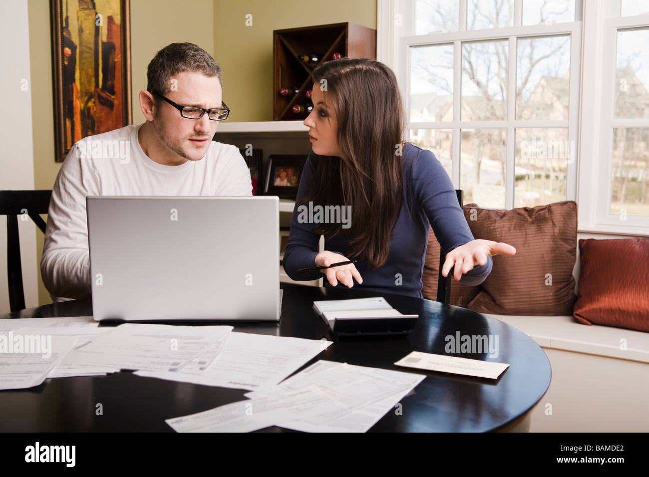 Young couple with financial stress Stock Photo