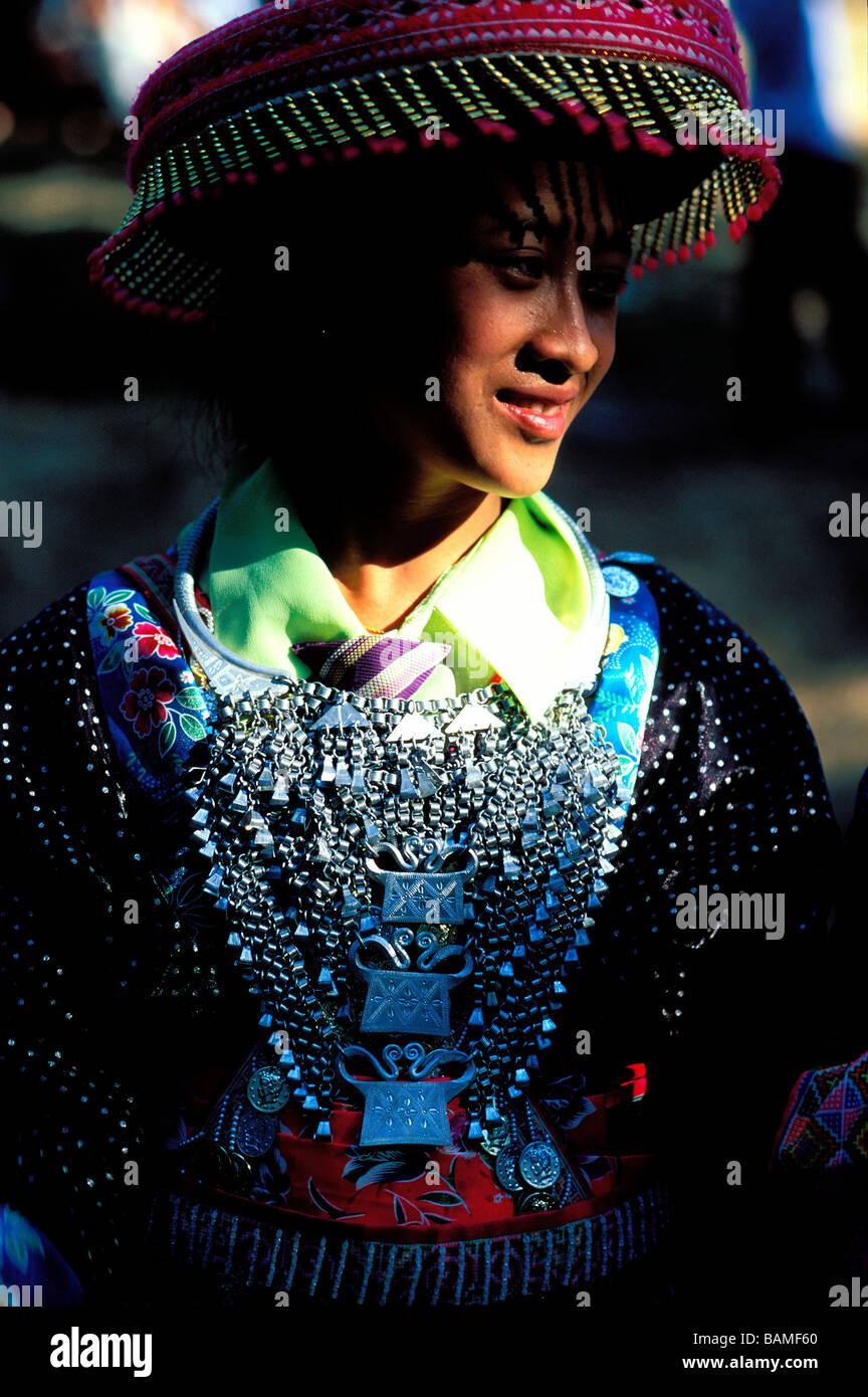 Laos, Luang Prabang, Hmong minority woman portrait - Stock Image