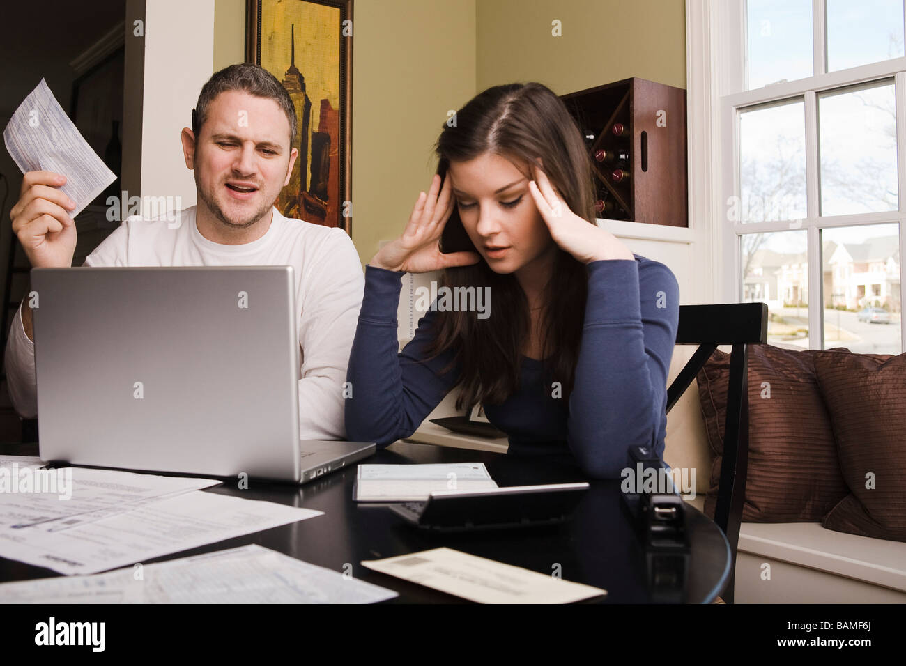 Young couple with financial stress - Stock Image