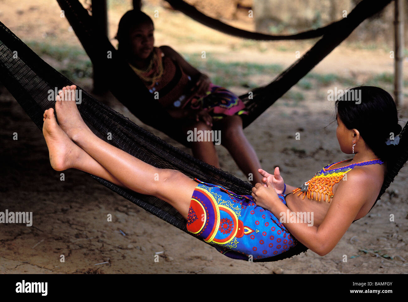 Panama, Panama and Colon Provinces, Chagres National Park, Parque Nacional Chagres, Embera Indian woman in a hammock - Stock Image