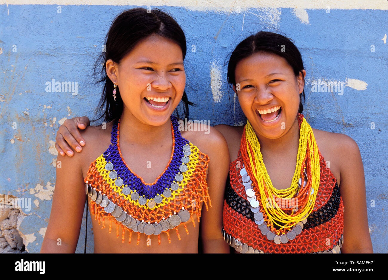Panama, Panama and Colon Provinces, Chagres National Park, Parque Nacional Chagres, portrait of two Embera indian - Stock Image