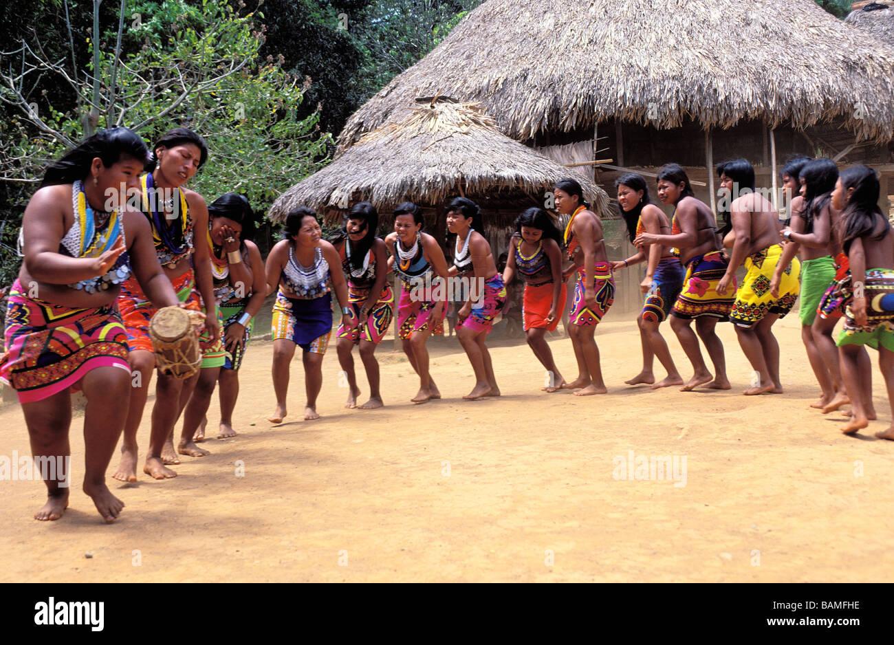 Panama, Panama and Colon Provinces, Chagres National Park, Parque Nacional Chagres, Embera Indians dancing - Stock Image