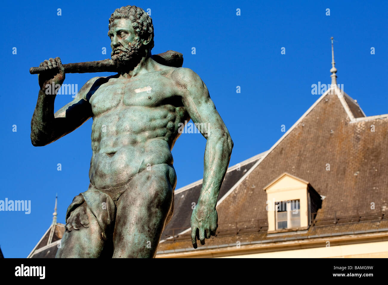 France, Isere, Grenoble, Jardin de Ville, Hercule Statue in front of the Lesdiguières Mansion House built beetwen - Stock Image