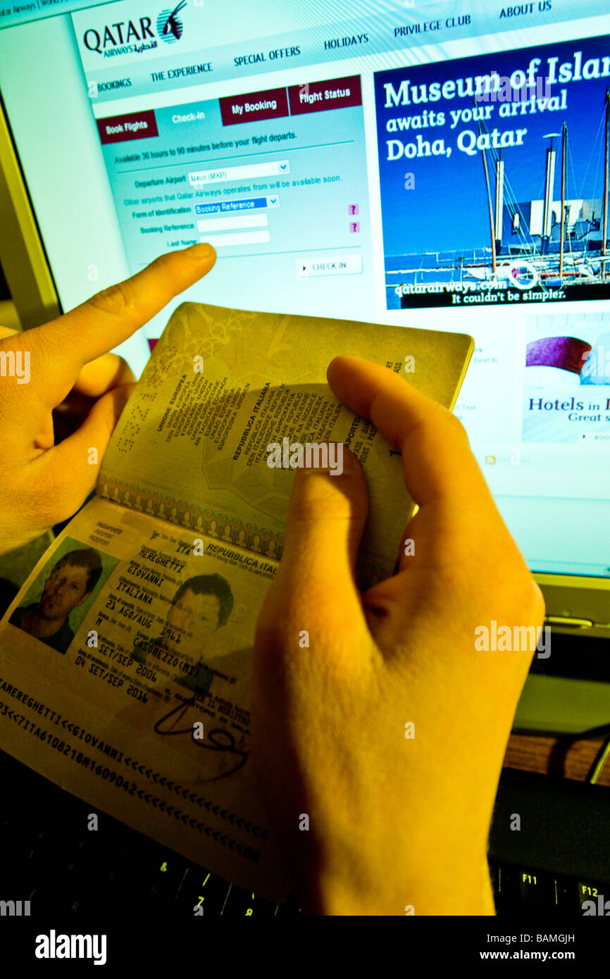 check in online - Stock Image