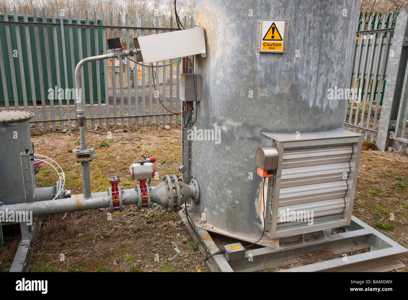 A methane burner at the old landfill site in Clitheroe Lancashire UK - Stock Image