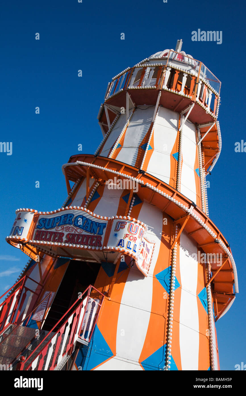 The Helter Skelter on Clacton Pier, Essex, England. - Stock Image