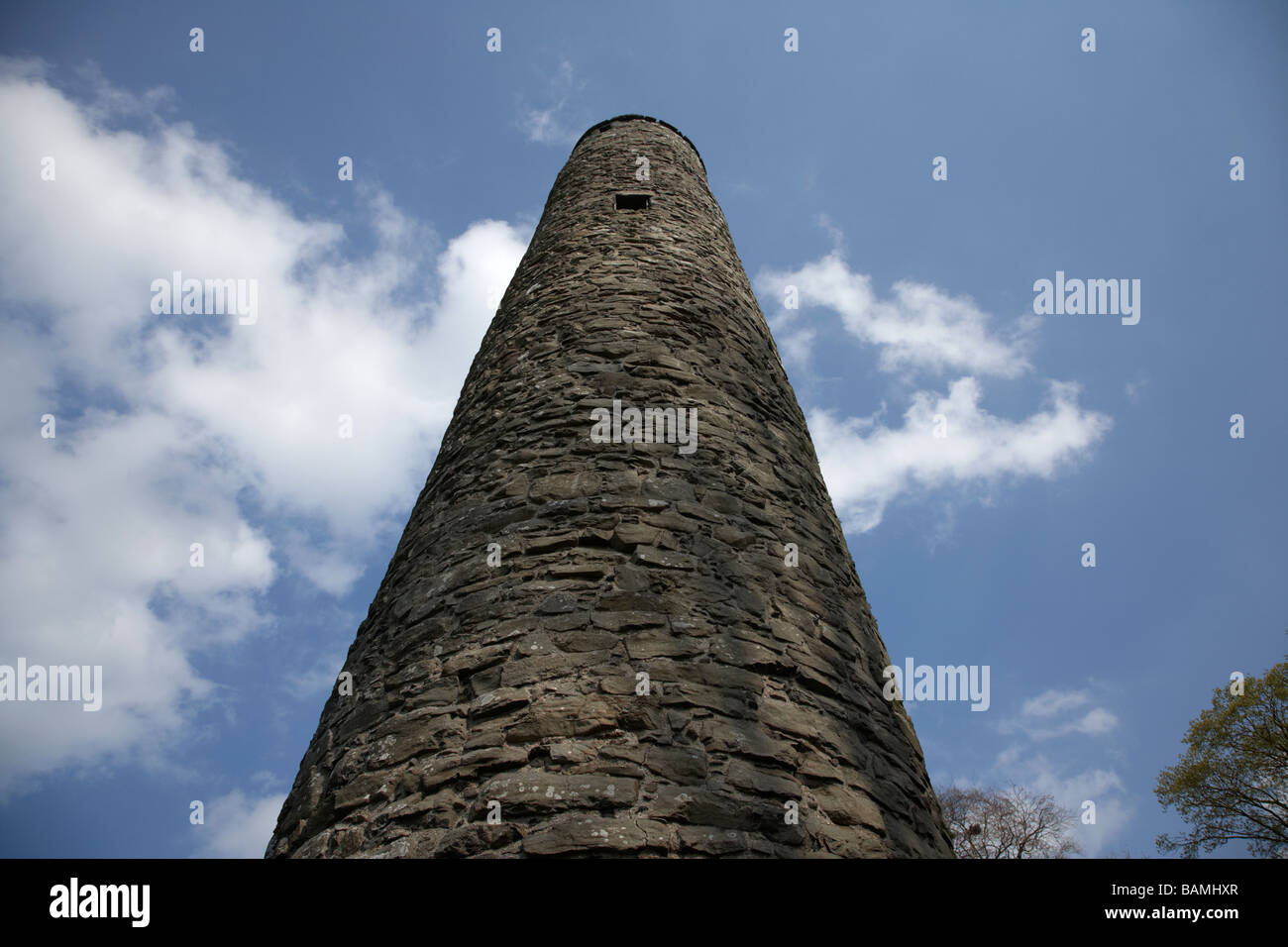 looking up at the 10th century Antrim Round Tower county antrim northern irelandnd Stock Photo