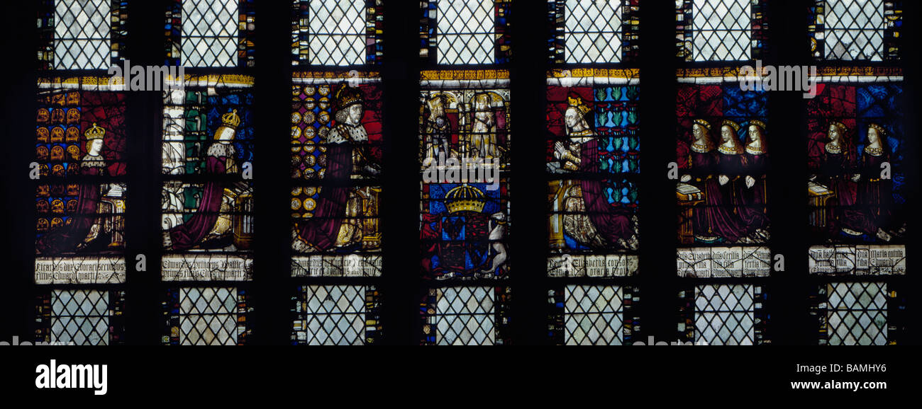 Canterbury Cathedral stained glass King Edward IV and family. - Stock Image