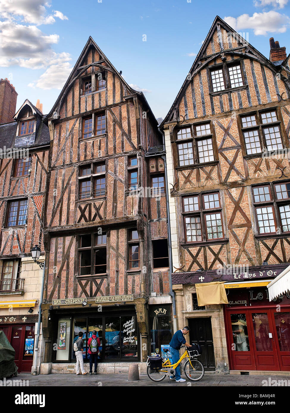 Typical frontage at Plumereau place, Tours, France. - Stock Image