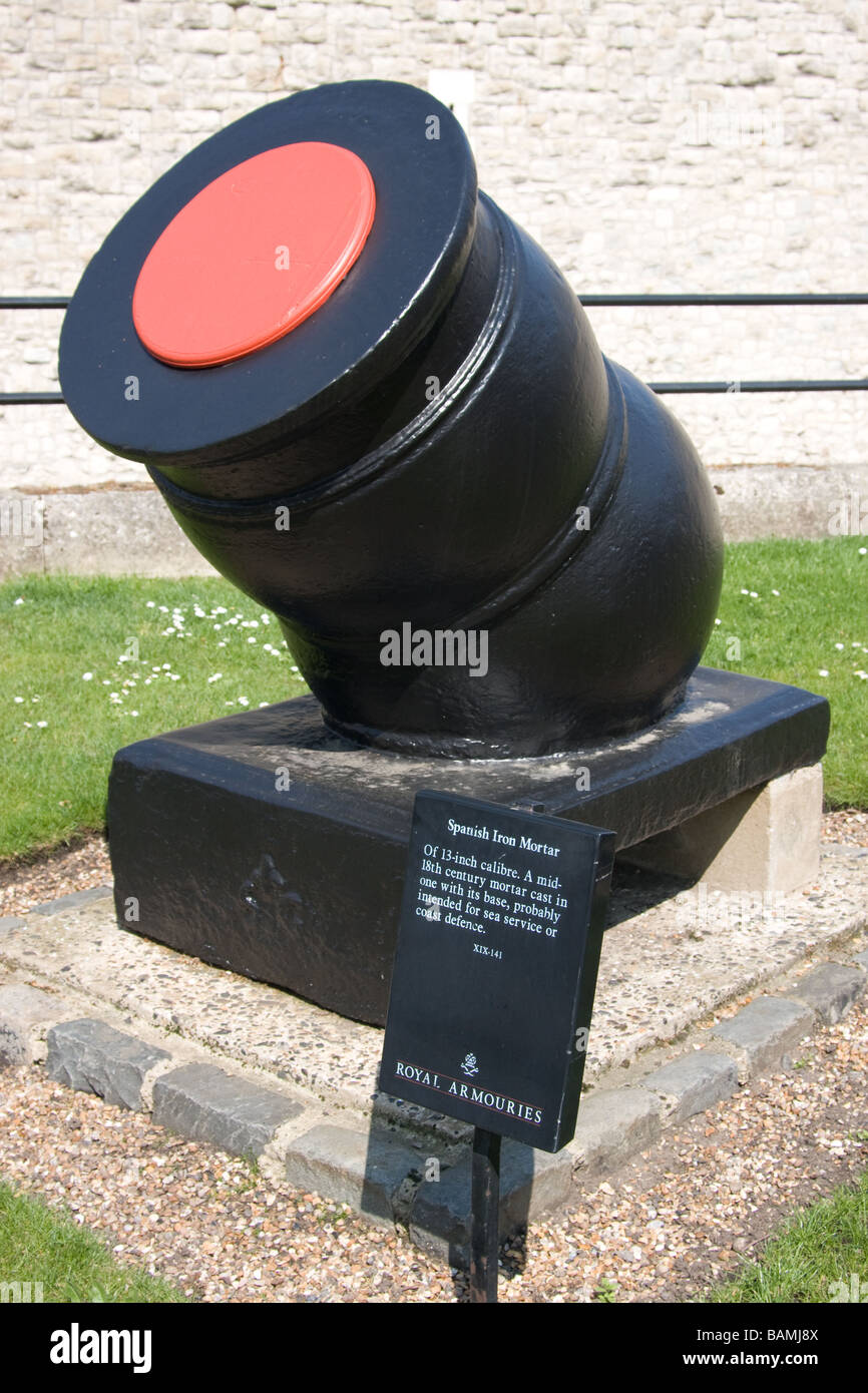 italian bombast cannon tower of london thames path north bank river thames london Stock Photo