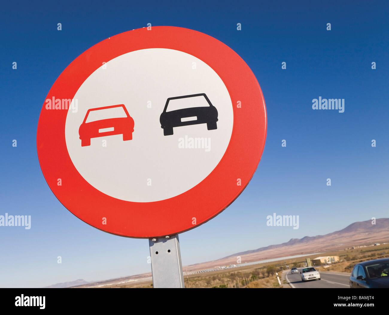 Traffic sign in Granada, Spain; No passing traffic sign - Stock Image