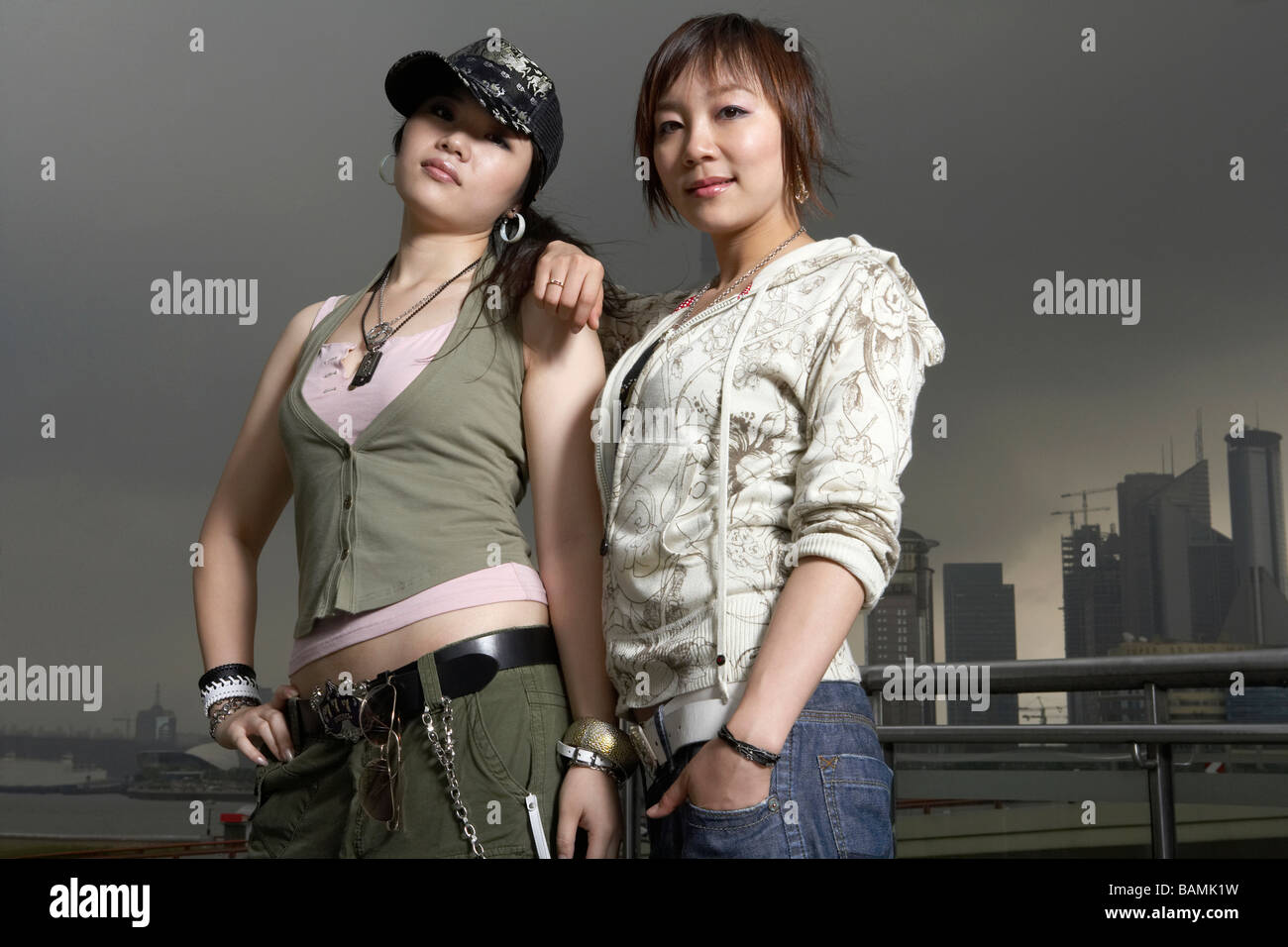 Teenage Girls With Cool Attitude In Shanghai Stock Photo 23810917
