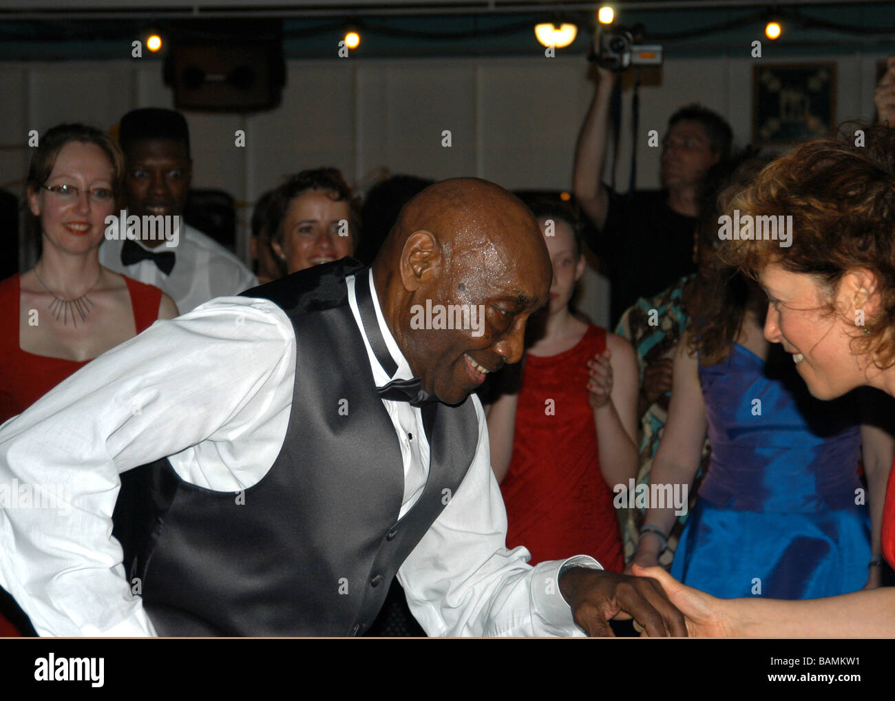 Frankie Manning, ambassador of Lindy Hop, dancing on his 89th Birthday cruise 26th May 2003.  (26 May 1914 - 27 - Stock Image