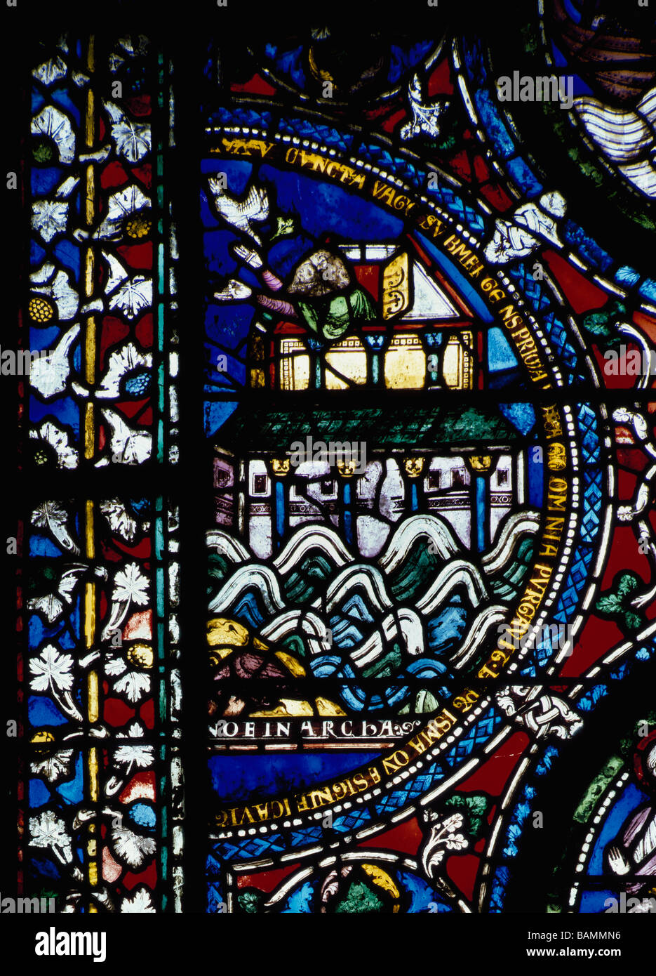 Canterbury Cathedral stained glass panel showing Noah leaning out of the Ark Stock Photo