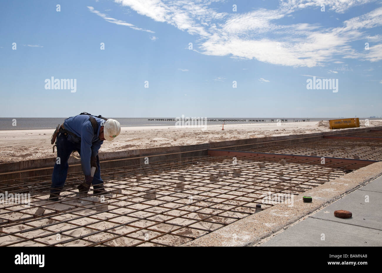 Workers Rebuild Boardwalk Destroyed by Hurricane Katrina - Stock Image