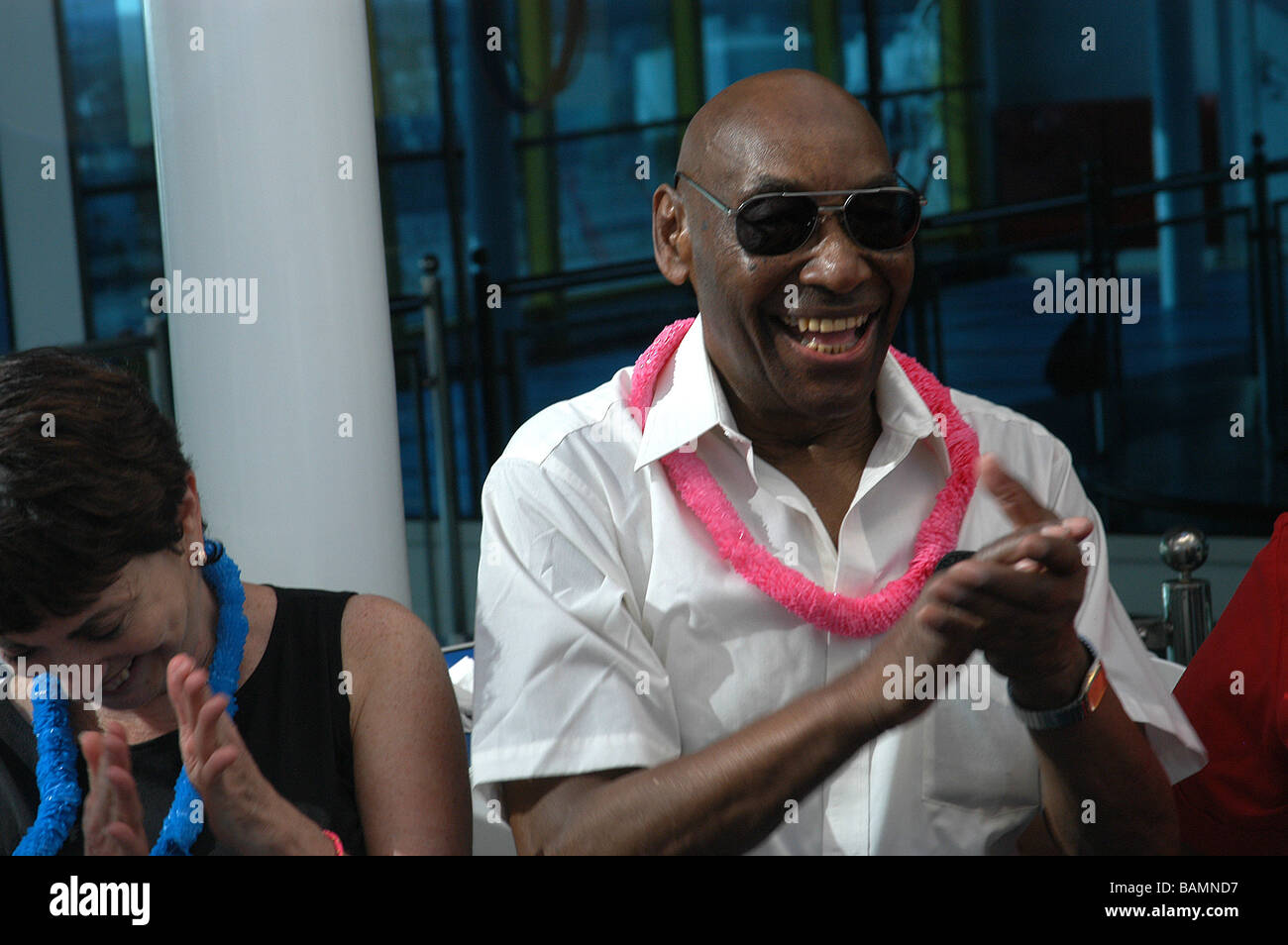 Frankie Manning cruising around the Caribbean on his 90th birthday cruise, May 2004 (26 May 1914 - 27 April 2009) - Stock Image