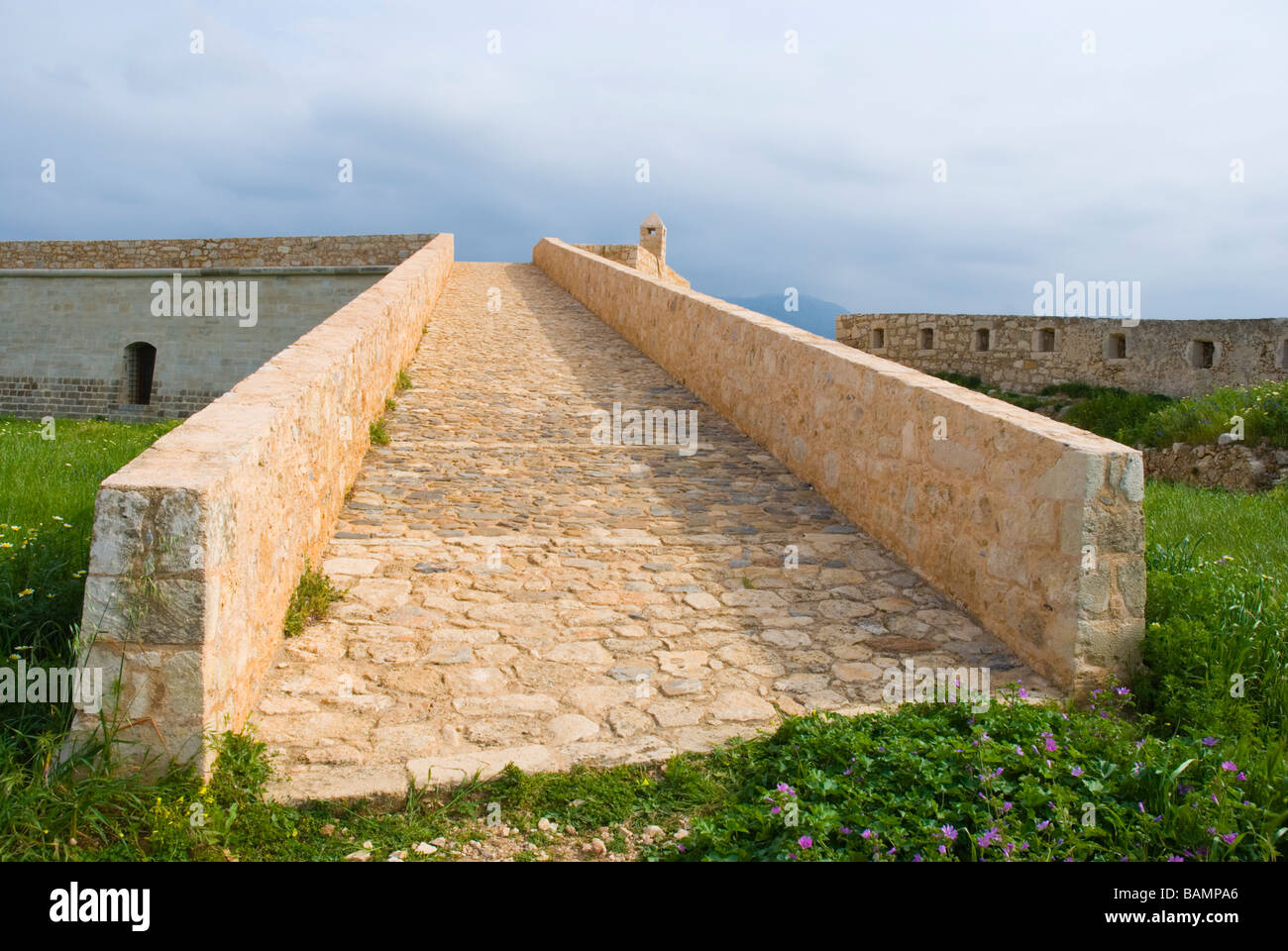 Rebuilt ruins at Fortezza the fortress in Rethymno Crete Greece Europe Stock Photo