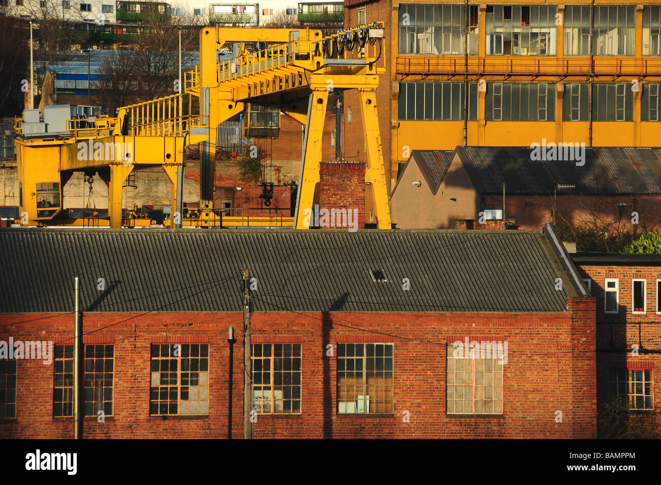 Factories and metalworks in industrial area of Newcastle-upon-Tyne, England - Stock Image