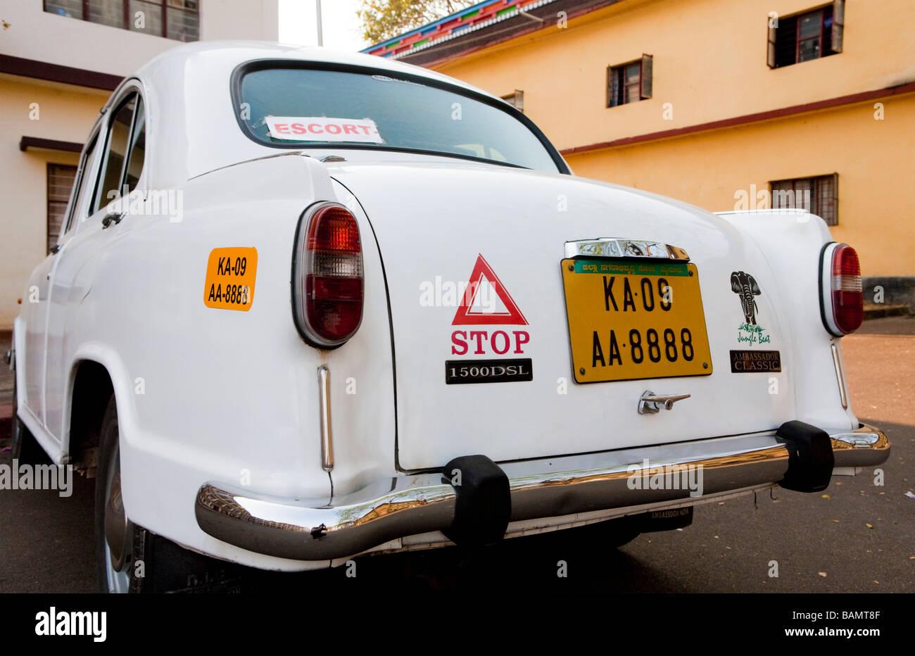 Classic Ambassador Taxi Car Rajasthan India - Stock Image