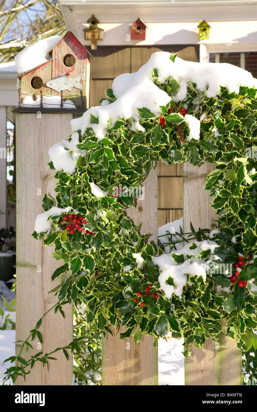 Christmas Wreath On An Outdoor Fence Stock Photo 23815054
