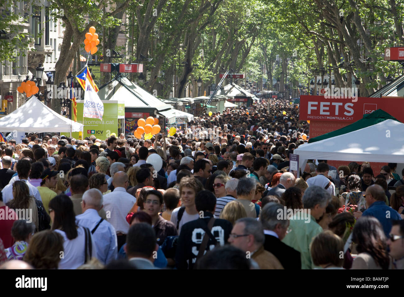 View of las ramblas, Barcelona, during the world book day - Stock Image