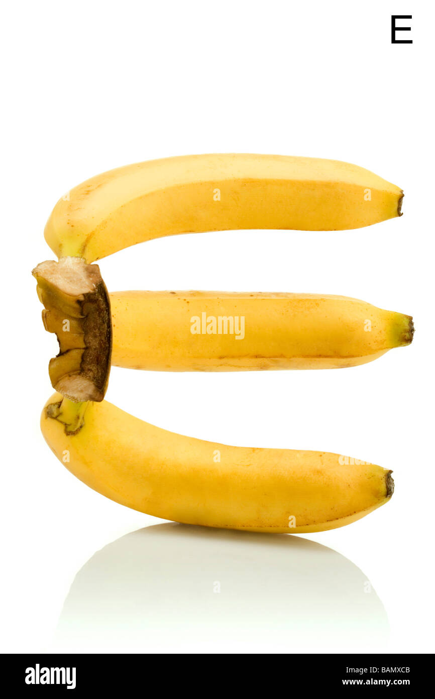 From the Health-abet, the Letter E, bananas. - Stock Image